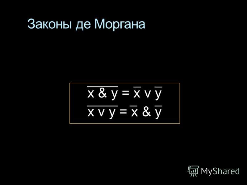 Законы де Моргана x & у = x v y x v у = x & у