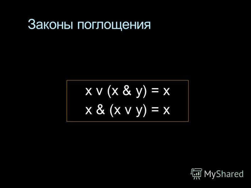 Законы поглощения x v (x & y) = x x & (x v y) = x