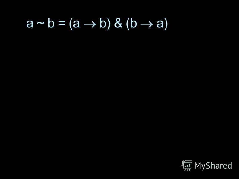 a ~ b = (a b) & (b a)