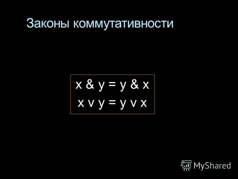 Законы коммутативности x & у = y & x x v у = y v x