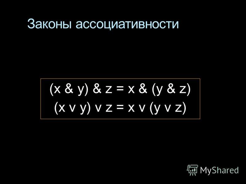 Законы ассоциативности (x & у) & z = x & (у & z) (x v у) v z = x v (у v z)