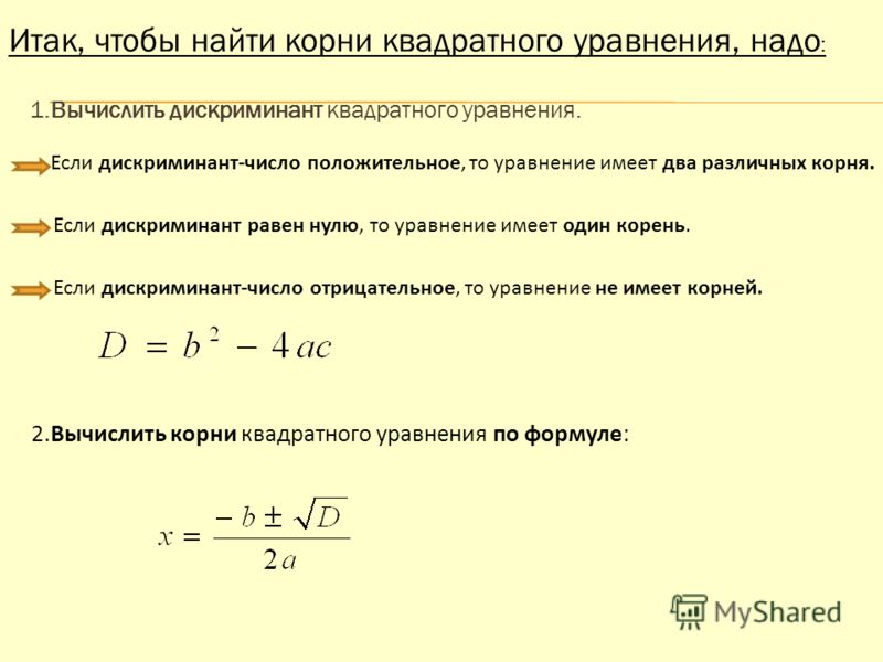 Итак, чтобы найти корни квадратного уравнения, надо : 1.Вычислить дискриминант квадратного уравнения. Если дискриминант-число положительное, то уравнение имеет два различных корня. Если дискриминант равен нулю, то уравнение имеет один корень. Если ди