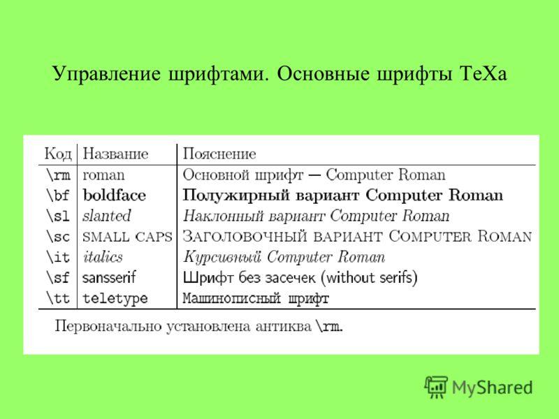 Управление шрифтами. Основные шрифты ТеХа