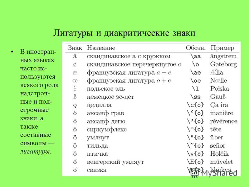 Лигатуры и диакритические знаки В иностран- ных языках часто ис- пользуются всякого рода надстроч- ные и под- строчные знаки, а также составные символы лигатуры.