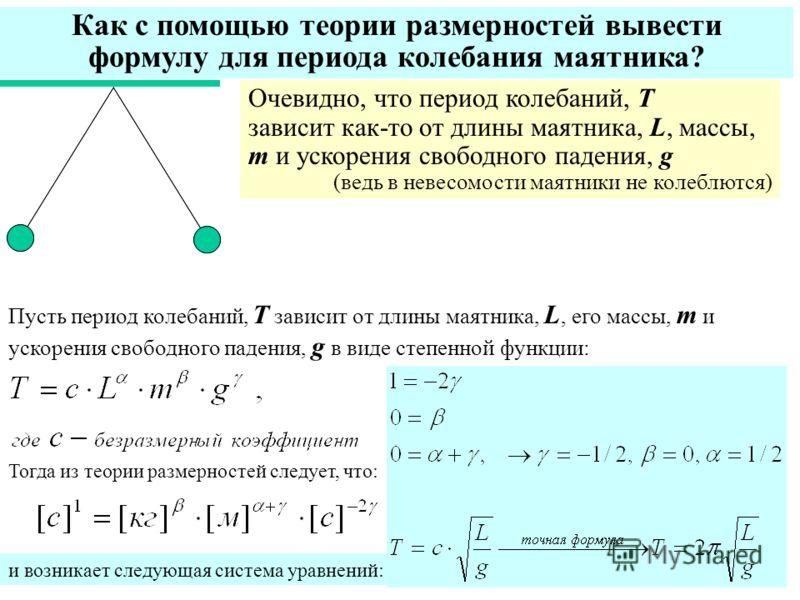 Как с помощью теории размерностей вывести формулу для периода колебания маятника? Очевидно, что период колебаний, T зависит как-то от длины маятника, L, массы, m и ускорения свободного падения, g (ведь в невесомости маятники не колеблются) Пусть пери