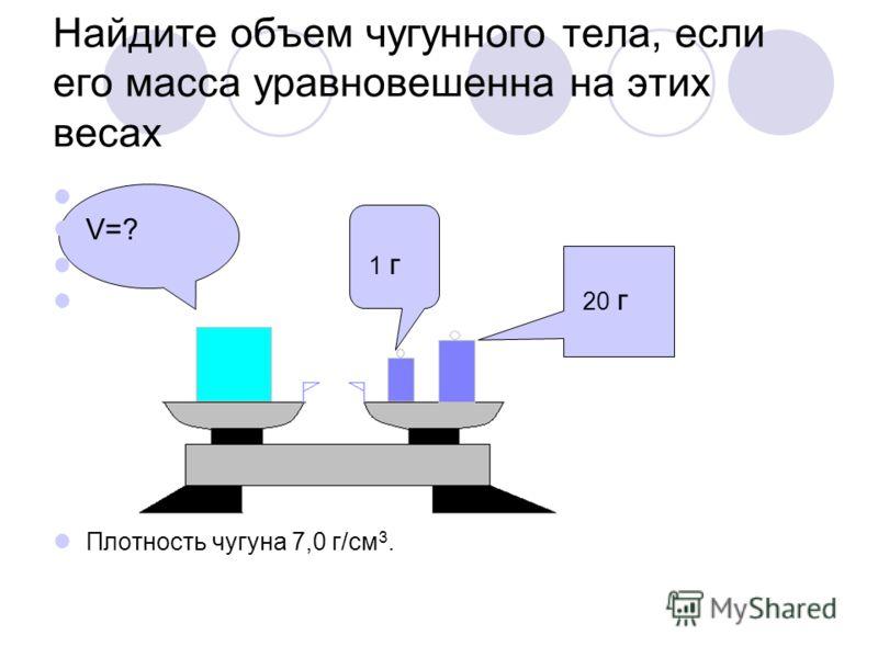 Найдите объем чугунного тела, если его масса уравновешенна на этих весах V=? 1 г 20 г Плотность чугуна 7,0 г/см 3.
