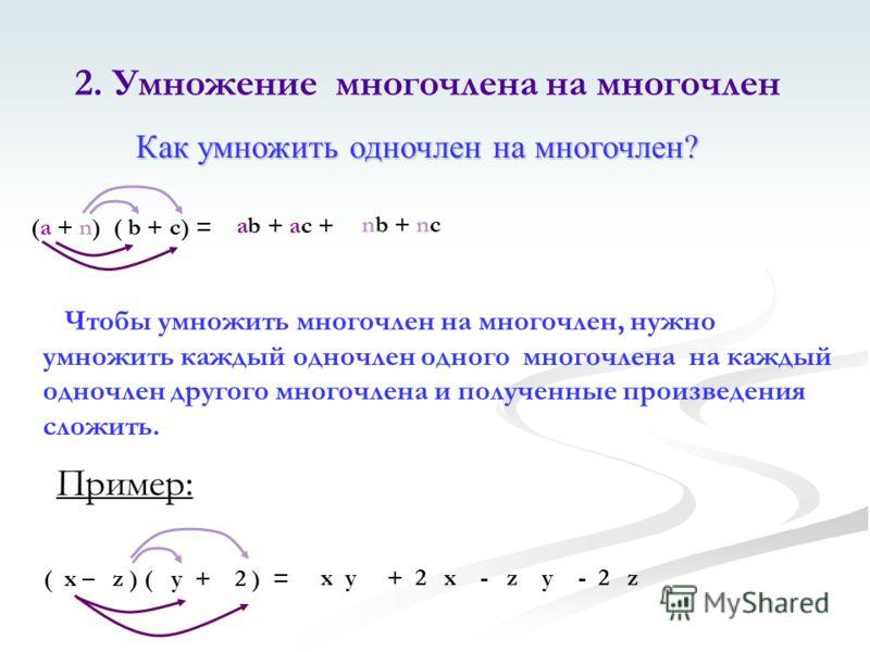 (a + n) ( b + c) = ab + ac + nb + nc Чтобы умножить многочлен на многочлен, нужно умножить каждый одночлен одного многочлена на каждый одночлен другого многочлена и полученные произведения сложить. ( x – z ) ( y + 2 ) = x y + 2 x - z y - 2 z 2. Умнож