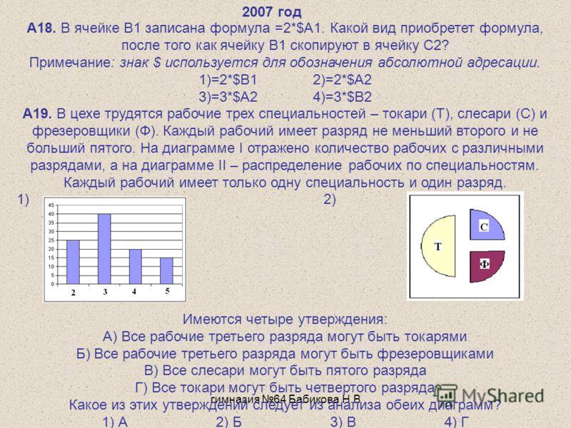 гимназия 64 Бабикова Н.В А18. В ячейке B1 записана формула =2*$A1. Какой вид приобретет формула, после того как ячейку B1 скопируют в ячейку C2? Примечание: знак $ используется для обозначения абсолютной адресации. 1)=2*$B12)=2*$A2 3)=3*$A24)=3*$B2 А