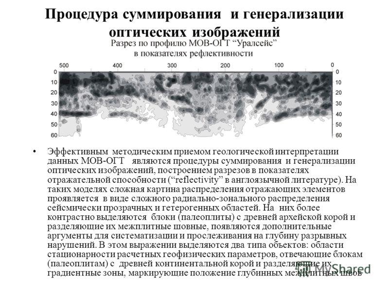 Процедура суммирования и генерализации оптических изображений Эффективным методическим приемом геологической интерпретации данных МОВ-ОГТ являются процедуры суммирования и генерализации оптических изображений, построением разрезов в показателях отраж