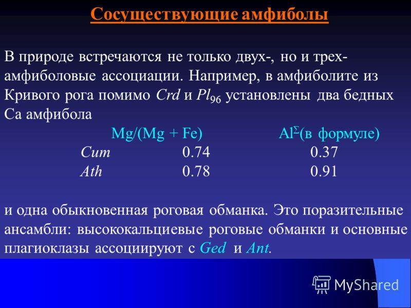 Сосуществующие амфиболы В природе встречаются не только двух-, но и трех- амфиболовые ассоциации. Например, в амфиболите из Кривого рога помимо Crd и Pl 96 установлены два бедных Са амфибола Mg/(Mg + Fe) Al (в формуле) Cum 0.74 0.37 Ath 0.78 0.91 и о