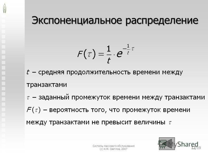 Системы массового обслуживания (с) Н.М. Светлов, 2007 Экспоненциальное распределение 12/ 19