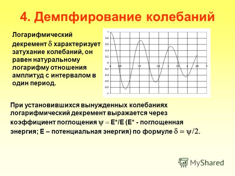 4. Демпфирование колебаний Логарифмический декремент характеризует затухание колебаний, он равен натуральному логарифму отношения амплитуд с интервалом в один период. При установившихся вынужденных колебаниях логарифмический декремент выражается чере