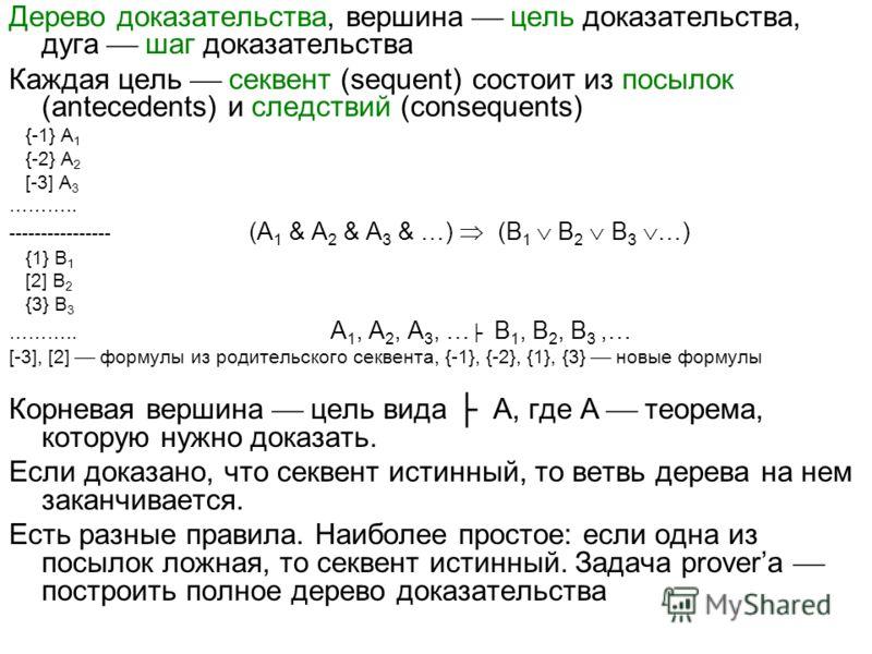 Дерево доказательства, вершина цель доказательства, дуга шаг доказательства Каждая цель секвент (sequent) состоит из посылок (antecedents) и следствий (consequents) {-1} A 1 {-2} A 2 [-3] A 3 ……….. ---------------- (A 1 & A 2 & A 3 & …) (B 1 B 2 B 3