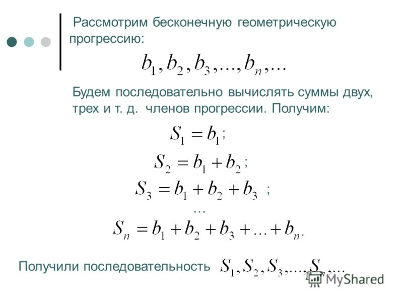 Рассмотрим бесконечную геометрическую прогрессию: Будем последовательно вычислять суммы двух, трех и т. д. членов прогрессии. Получим: ; ; ; …. Получили последовательность