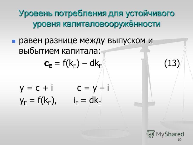 69 Уровень потребления для устойчивого уровня капиталовооружённости равен разнице между выпуском и выбытием капитала: равен разнице между выпуском и выбытием капитала: с Е = f(k E ) – dk E (13) с Е = f(k E ) – dk E (13) y = c + i c = y – i y = c + i