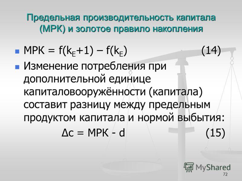 72 Предельная производительность капитала (МРК) и золотое правило накопления МРК = f(k Е +1) – f(k Е ) (14) МРК = f(k Е +1) – f(k Е ) (14) Изменение потребления при дополнительной единице капиталовооружённости (капитала) составит разницу между предел
