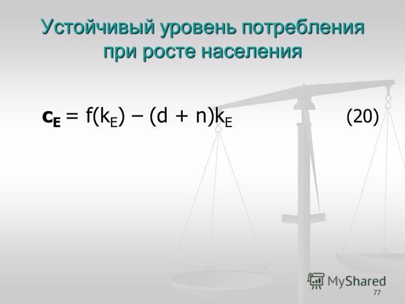 77 Устойчивый уровень потребления при росте населения с Е = f(k E ) – (d + n)k E (20) с Е = f(k E ) – (d + n)k E (20)