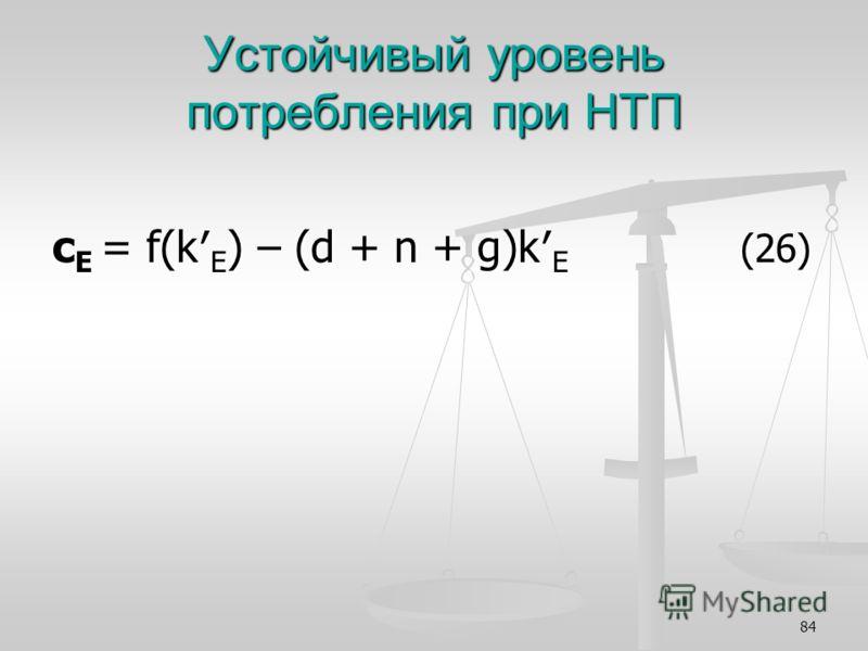 84 Устойчивый уровень потребления при НТП с Е = f(k E ) – (d + n + g)k E (26)