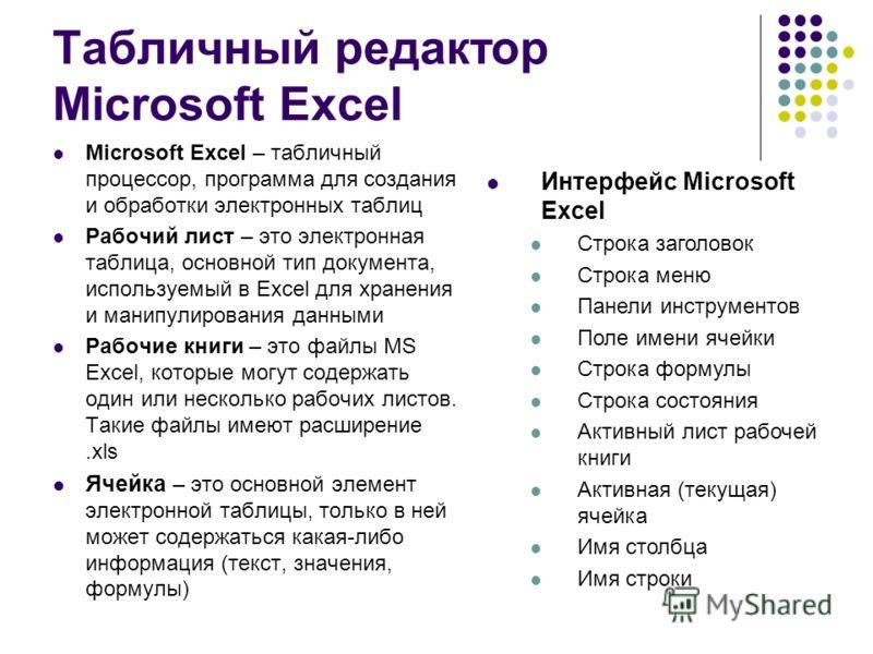 Табличный редактор Microsoft Excel Microsoft Excel – табличный процессор, программа для создания и обработки электронных таблиц Рабочий лист – это электронная таблица, основной тип документа, используемый в Excel для хранения и манипулирования данным