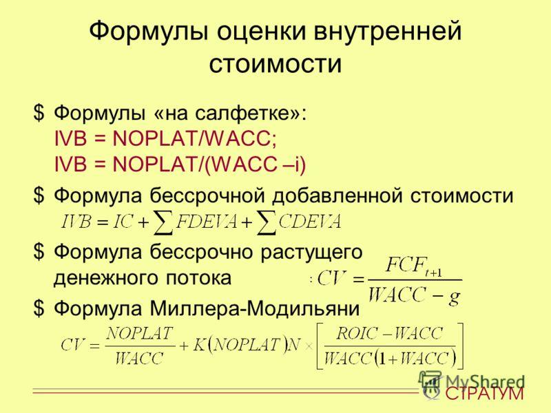 Формулы оценки внутренней стоимости $Формулы «на салфетке»: IVB = NOPLAT/WACC; IVB = NOPLAT/(WACC –i) $Формула бессрочной добавленной стоимости $Формула бессрочно растущего денежного потока $Формула Миллера-Модильяни