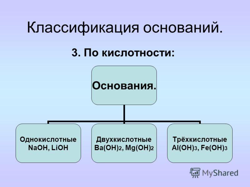 Классификация оснований. 2. По степени ЭД: Основания Сильные (L1) Щёлочи (NaOH, KOH) Слабые (L0) Нерастворимые основания, NH3·H2O