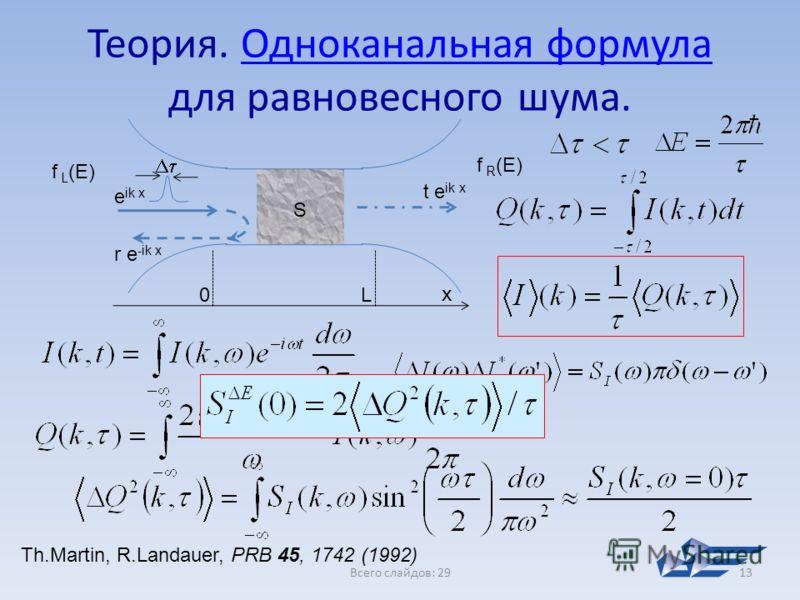 Всего слайдов: 2913 Теория. Одноканальная формула для равновесного шума.Одноканальная формула f L (E) f R (E) S e ik x t e ik x r e -ik x x 0L Th.Martin, R.Landauer, PRB 45, 1742 (1992)