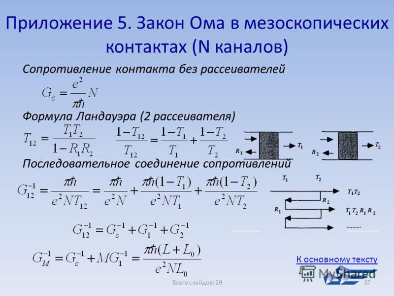 Всего слайдов: 2937 Сопротивление контакта без рассеивателей Формула Ландауэра (2 рассеивателя) Последовательное соединение сопротивлений Приложение 5. Закон Ома в мезоскопических контактах (N каналов) К основному тексту