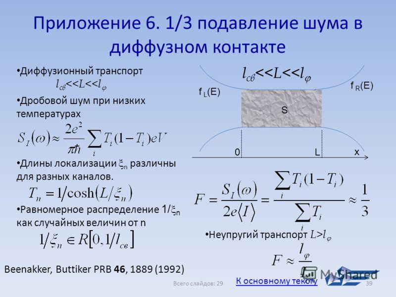 Всего слайдов: 2939 Приложение 6. 1/3 подавление шума в диффузном контакте Диффузионный транспорт l св