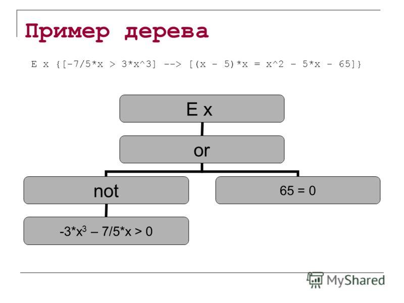 Пример дерева E x or not -3*x 3 – 7/5*x > 0 65 = 0 E x {[-7/5*x > 3*x^3] --> [(x - 5)*x = x^2 – 5*x - 65]}
