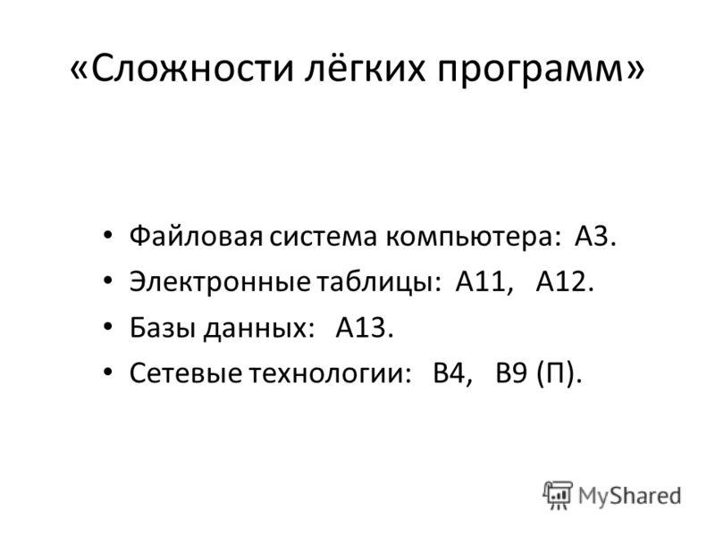 «Сложности лёгких программ» Файловая система компьютера: А3. Электронные таблицы: А11, А12. Базы данных: А13. Сетевые технологии: В4, В9 (П).