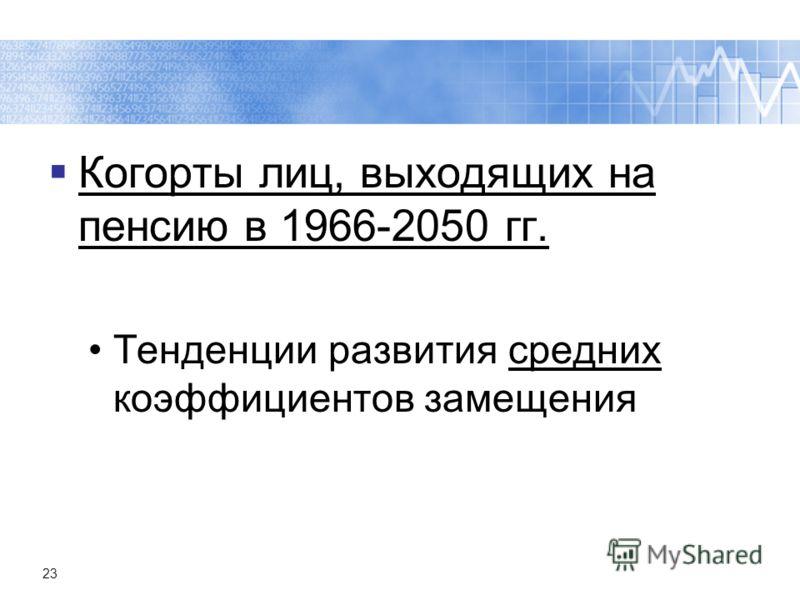 23 Когорты лиц, выходящих на пенсию в 1966-2050 гг. Тенденции развития средних коэффициентов замещения