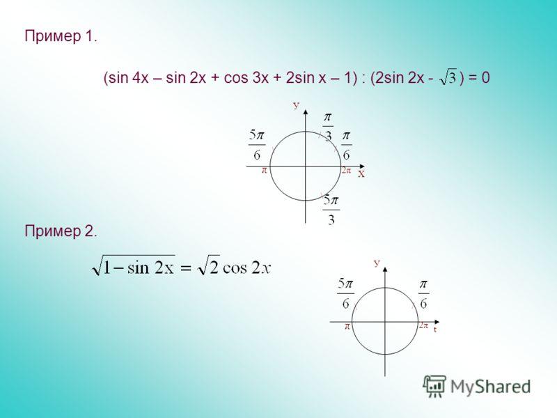 Пример 1. (sin 4x – sin 2x + cos 3x + 2sin x – 1) : (2sin 2x - ) = 0 Пример 2. \ У t / π 2π \ π У Х / / \