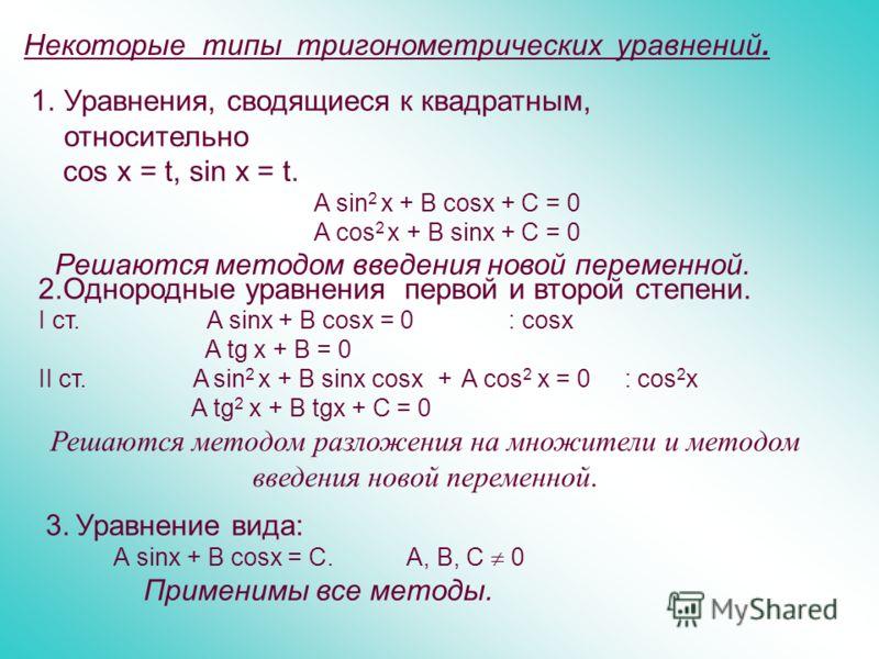 Некоторые типы тригонометрических уравнений. 1.Уравнения, сводящиеся к квадратным, относительно cos х = t, sin х = t. A sin 2 x + B cosx + C = 0 A cos 2 x + В sinx + C = 0 Решаются методом введения новой переменной. 2.Однородные уравнения первой и вт