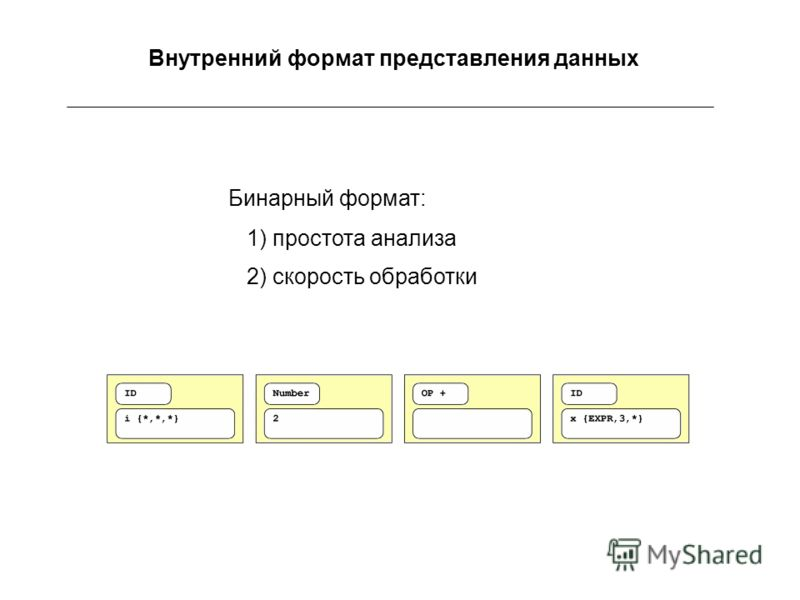 Внутренний формат представления данных Бинарный формат: 1) простота анализа 2) скорость обработки