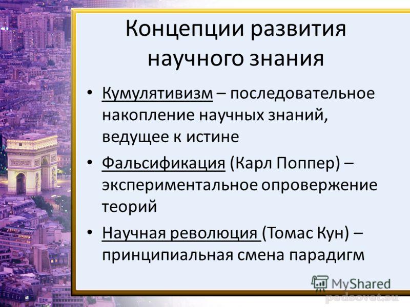 Концепции развития научного знания Кумулятивизм – последовательное накопление научных знаний, ведущее к истине Фальсификация (Карл Поппер) – экспериментальное опровержение теорий Научная революция (Томас Кун) – принципиальная смена парадигм