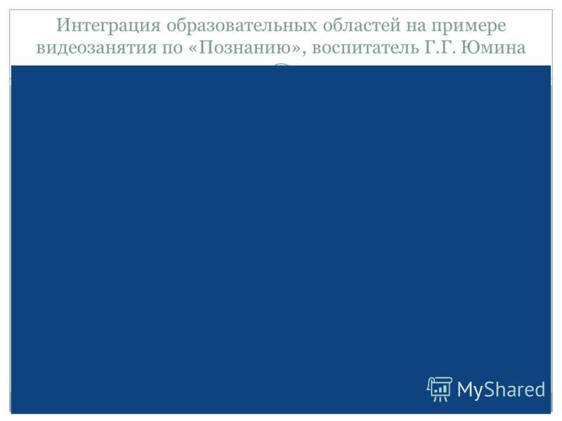 Интеграция образовательных областей на примере видеозанятия по «Познанию», воспитатель Г.Г. Юмина