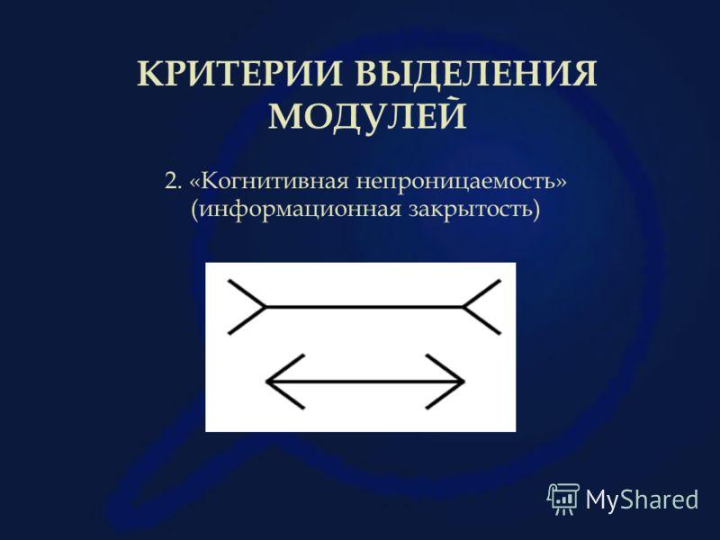 КРИТЕРИИ ВЫДЕЛЕНИЯ МОДУЛЕЙ 2. «Когнитивная непроницаемость» (информационная закрытость)