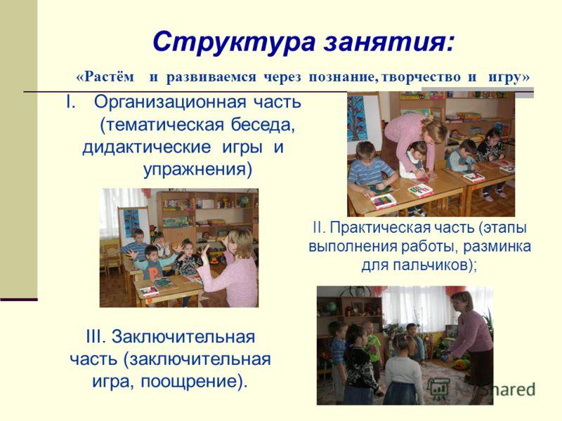 I.Организационная часть (тематическая беседа, дидактические игры и упражнения) Структура занятия: «Растём и развиваемся через познание, творчество и игру» II. Практическая часть (этапы выполнения работы, разминка для пальчиков); III. Заключительная ч