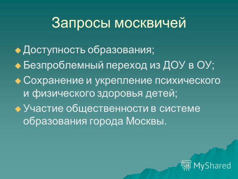 Запросы москвичей Доступность образования; Безпроблемный переход из ДОУ в ОУ; Сохранение и укрепление психического и физического здоровья детей; Участие общественности в системе образования города Москвы.