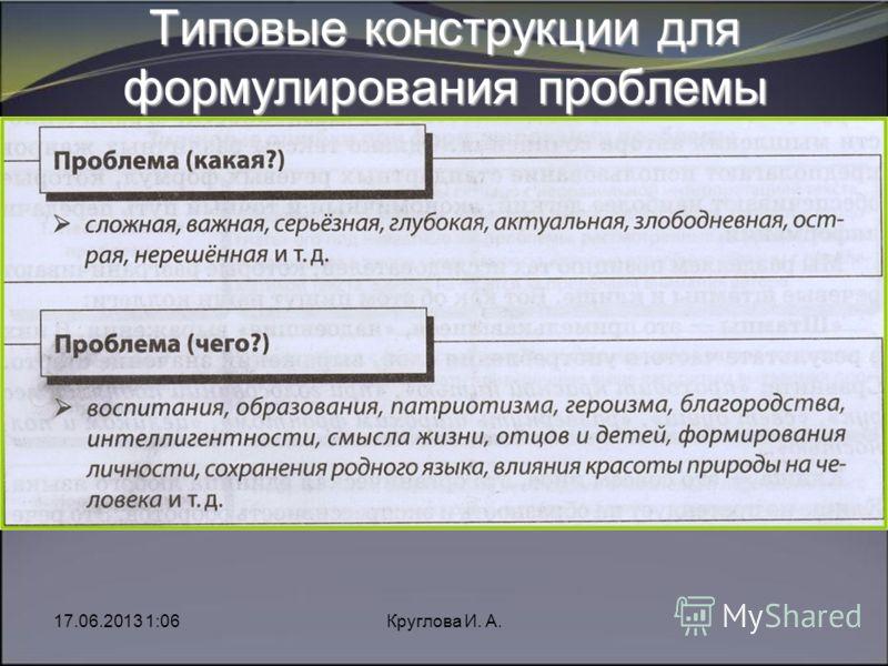 17.06.2013 1:08Круглова И. А. Типовые конструкции для формулирования проблемы