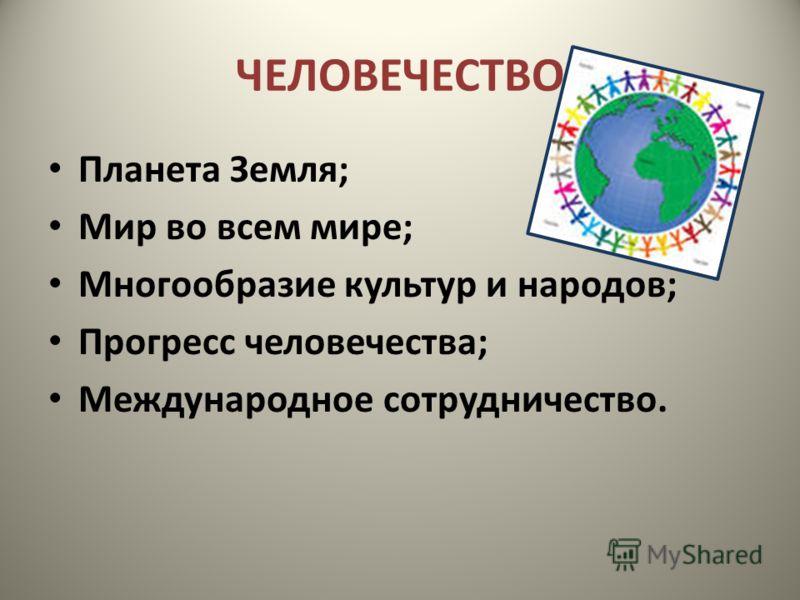 ЧЕЛОВЕЧЕСТВО Планета Земля; Мир во всем мире; Многообразие культур и народов; Прогресс человечества; Международное сотрудничество.