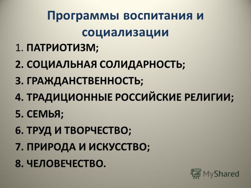 Программы воспитания и социализации 1. ПАТРИОТИЗМ; 2. СОЦИАЛЬНАЯ СОЛИДАРНОСТЬ; 3. ГРАЖДАНСТВЕННОСТЬ; 4. ТРАДИЦИОННЫЕ РОССИЙСКИЕ РЕЛИГИИ; 5. СЕМЬЯ; 6. ТРУД И ТВОРЧЕСТВО; 7. ПРИРОДА И ИСКУССТВО; 8. ЧЕЛОВЕЧЕСТВО.