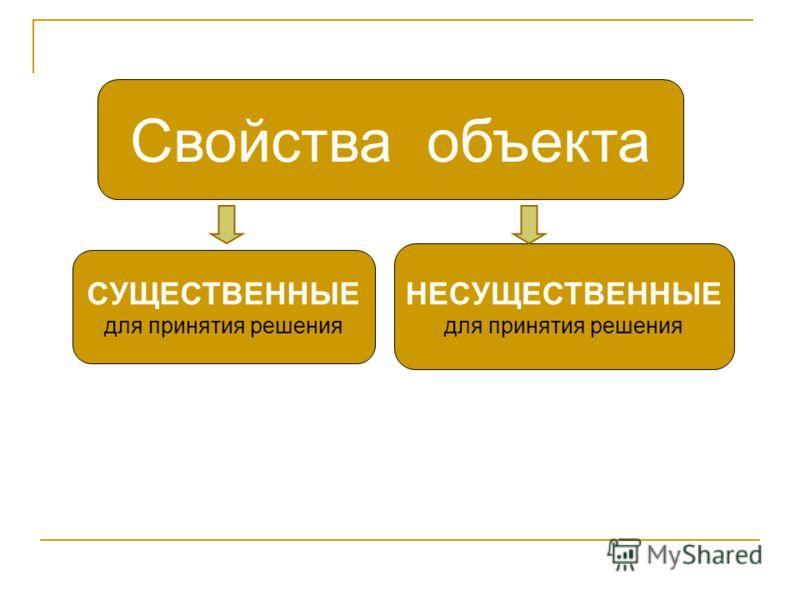 Свойства объекта СУЩЕСТВЕННЫЕ для принятия решения НЕСУЩЕСТВЕННЫЕ для принятия решения