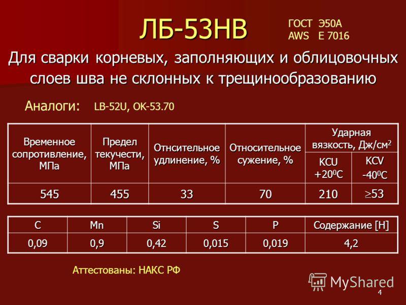 4 ЛБ-53НВ Для сварки корневых, заполняющих и облицовочных слоев шва не склонных к трещинообразованию Временное сопротивление, МПа Предел текучести, МПа Отнсительное удлинение, % Относительное сужение, % Ударная вязкость, Дж/см 2 KCU +20 0 C KCV -40 0