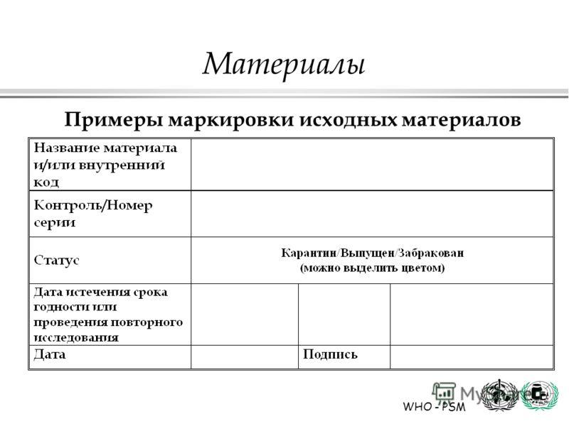 WHO - PSM Материалы Примеры маркировки исходных материалов