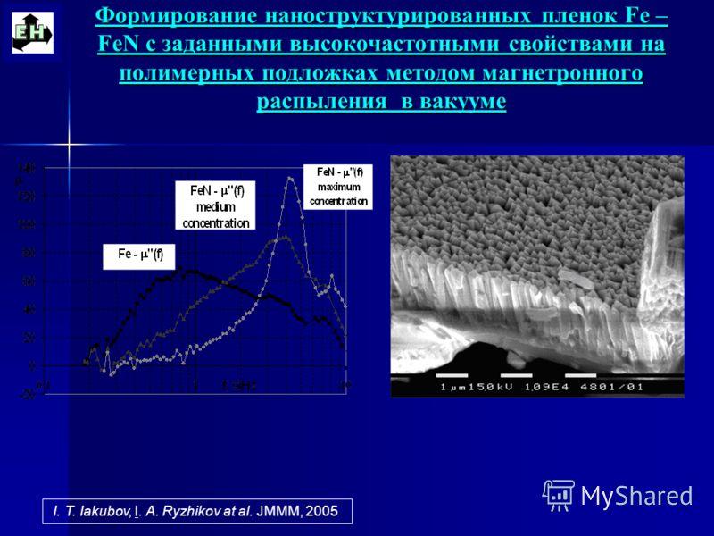 Формирование наноструктурированных пленок Fe – FeN с заданными высокочастотными свойствами на полимерных подложках методом магнетронного распыления в вакууме I. T. Iakubov, I. A. Ryzhikov at al. JMMM, 2005
