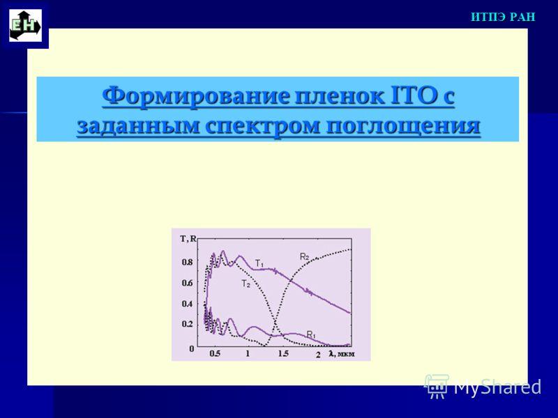 Формирование пленок ITO с заданным спектром поглощения ИТПЭ РАН