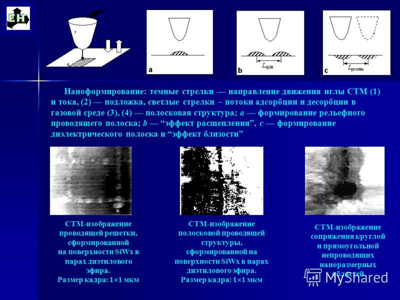 СТМ-изображение проводящей решетки, сформированной на поверхности SiWx в парах диэтилового эфира. Размер кадра: 1 1 мкм СТМ-изображение полосковой проводящей структуры, сформированной на поверхности SiWx в парах диэтилового эфира. Размер кадра: 1 1 м