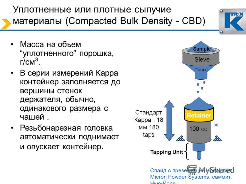 Tapping Unit Уплотненные или плотные сыпучие материалы (Compacted Bulk Density - CBD) Масса на объемуплотненного порошка, г/cм 3. В серии измерений Карра контейнер заполняется до вершины стенок держателя, обычно, одинакового размера с чашей. Резьбона
