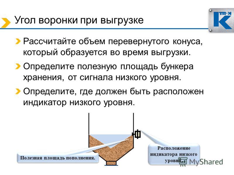Угол воронки при выгрузке Рассчитайте объем перевернутого конуса, который образуется во время выгрузки. Определите полезную площадь бункера хранения, от сигнала низкого уровня. Определите, где должен быть расположен индикатор низкого уровня. Полезная